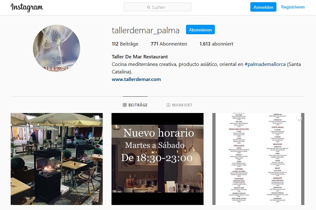 Instagram Taller de Mar Restaurant
