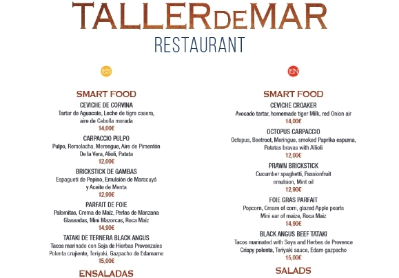 Taller de Mar Menu Carta
